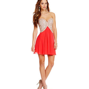 Glamour by Terani Couture Sweetheart Beaded Bodice Dress | Dillards