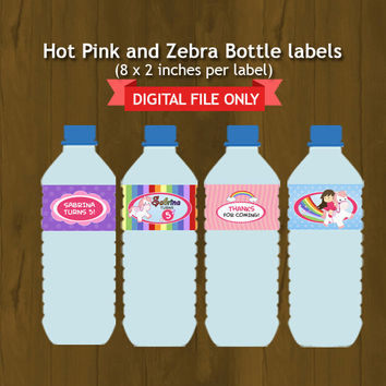Pony and Rainbow Printable Birthday Water Bottle Labels - Ponies and Rainbows with Girl rider Bottle Labels