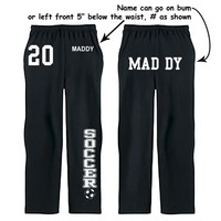 Fair Game . Soccer Custom Sweatpants Fleece Open Bottom Pocketed YL S M L XL 2X