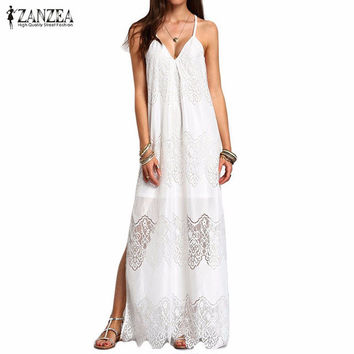 ZANZEA Long Maxi Dresses 2016 Women Boho Vestidos Summer Beach Wear Cream Deep V Neck Split Slip Sleeveless Dresses Plus Size