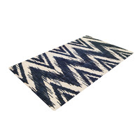 "Heidi Jennings ""Tribal Chevron Black"" Woven Area Rug"