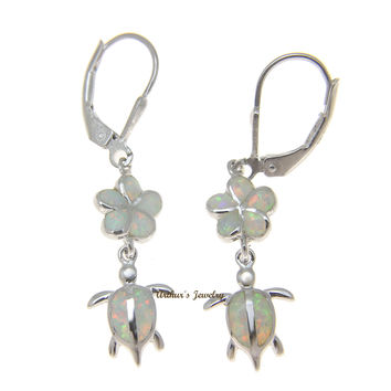 INLAY OPAL SILVER 925 HAWAIIAN PLUMERIA FLOWER HONU TURTLE LEVERBACK EARRINGS