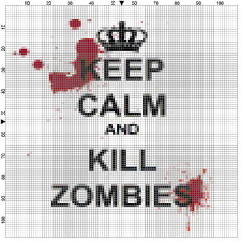Keep Calm and Kill Zombies cross stitch pattern