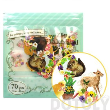 Porcupine Squirrel Deer Forest Animal Themed Photo Sticker Flake Seals From Japan | 70 Pieces