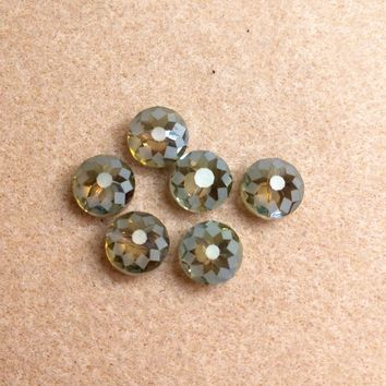 CCOIN-005 - Chinese Crystal Coin Beads,Green Shimmer,9x14mm | Pkg 6