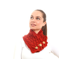 Knitted Scarf, Classica Hand Knit Scarf in Brick by Solandia, dark orange, rust, gift, Christmas, street fashion, women, heartshaped