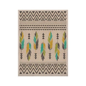 "Amanda Lane ""Painted Feathers Cream"" Tan Tribal KESS Naturals Canvas (Frame not Included)"