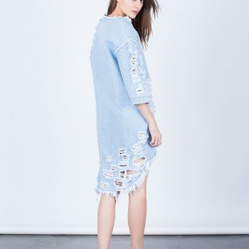 Totally Shredded Denim Dress