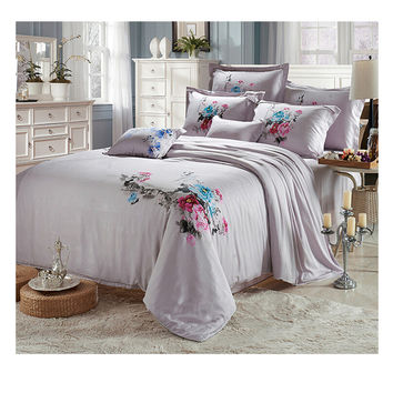 Silk ink and wash painting Duvet Quilt Cover Sets Bedding Cover set 1.5M/1.8M Bed 01 Gray