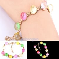2014 hot sale new fashion Chic Crystal Ball Cute Sweet Candy Color Beaded Gumball Bracelet Jewelry Gift = 1958649860