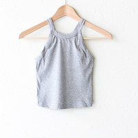 Ribbed Crop Top - Heather Grey