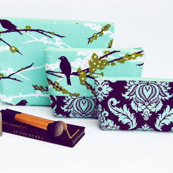 Bird makeup bag set / Plum cosmetic case /aqua purple birds, large makeup bag, travel toiletry tote, pencil case