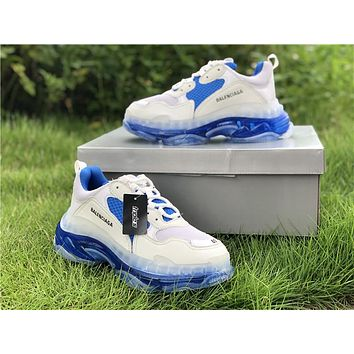 2019 Balenciaga Triple S Trainers White/Royal Blue