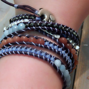 Dusty Blue and Brown Elephant Clasp Faceted Amazonite, Quartz and Silver 5x Wrap Bracelet