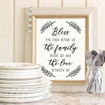 Bless the food before us sign, Dining room wall decor Modern farmhouse kitchen wall decor, Printable wall art Black and white print download