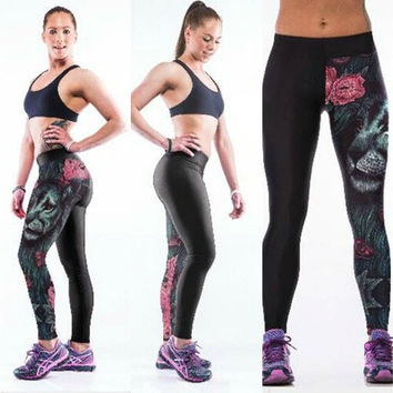 Vintage Ghost Beauty 3D Print Women Ladys Gym Fitted Pants Running Pants Slim Sports Leggings [8833620492]