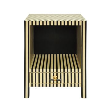 Worlds Away Bronx One Drawer Resin Side Table