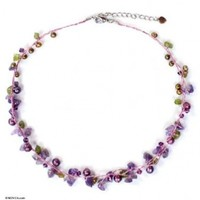 NOVICA Pearl and amethyst strand necklace, 'Tropical Elite' - Amethyst and Peridot Necklace Handmade in Thailand