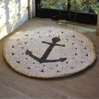 Round Rush Mat with Anchor