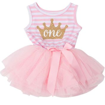 Toddler Girl Clothes Baby Frock Designs Stripe Baby Girl Tutu Birthday Dresses For Infant Baptism Dress Casual Wear Kids Clothes