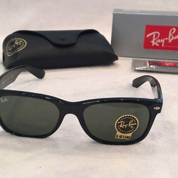 Cheap New Wayfarer Ray Ban RB2132 901 55 Green G-15 Lens Small Black Frame NEW