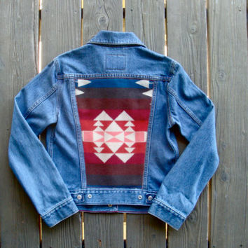Vintage Levi Denim Jacket w/ Warm Navajo Jacquard Pendleton Wool Back.