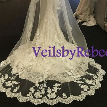 Dramatic scattered lace cathedral veil-2 tier scattered lace bottom cathedral veil,cathedral lace veil with elbow blusher, lace veils V627