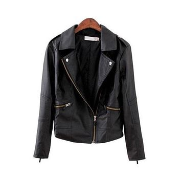 2018 Turn-Down Leather Jacket
