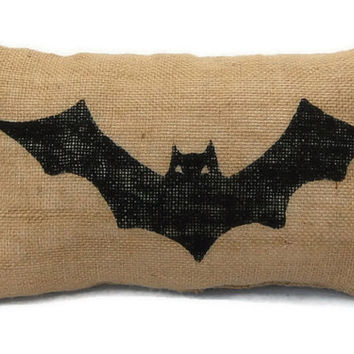 Bat Halloween Pillow, Halloween Decorations, Decorative Throw, Painted Burlap Pillow, Decorative Pillow, Halloween Decor, Outdoor Pillow