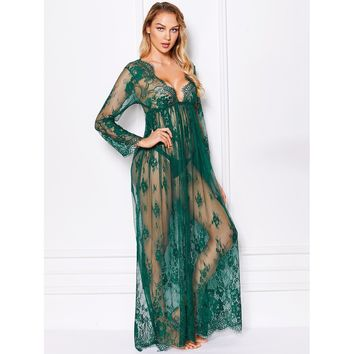 Maxi Floral Lace Dress With Thong