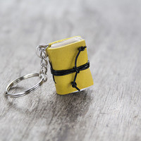 mini book keychain, key accessories leather keychain, zipper pull, bag charm, key fob book keychain, book lover, miniature journal yellow