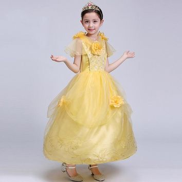 Princess Costume - Luminous Yellow Short Sleeve Bubble Gown Skirt Belle Dress - 👗💘👑🎃👠