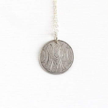 "Antique Silver Monogrammed ""MA"" Love Token Coin Pendant Necklace - Victorian 1875 Seated Liberty Dime Coin Charm Vintage Initial Jewelry"