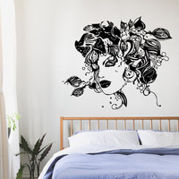 Wall Decals Vinyl Decal Sticker Art Beauty Salon Decor Girl Floral Hair Kj130