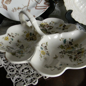 Masons Formosa 3 Section Handled Serving Dish Trefoil Tray w/ birds and Oriental Flowers Aesthetic Yellow Teal and Lime