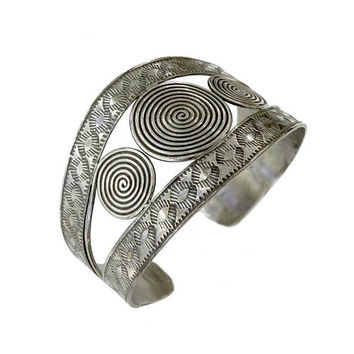 Sterling Silver Handmade Ethnic Boho Wide Statement Cuff Bracelet, Adjustable Gypsy Hippie Tribal motifs Silver Bangle, gift for her