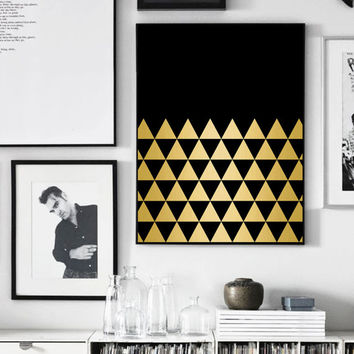 Gold Black, Triangle Art, Gold and Black Geometric, Gold Triangle, Black Triangle Print, Printable Art, Affiche Geometrique