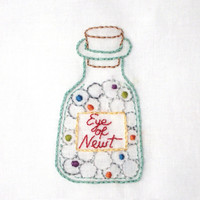 Halloween Witch's Eye of Newt Potion Bottle Hand Embroidery Pattern PDF