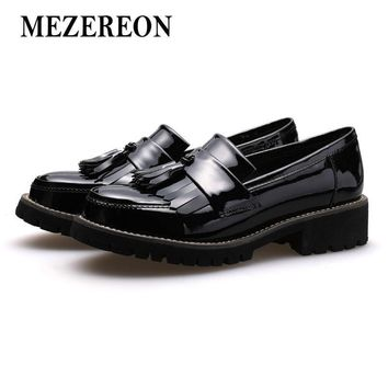 MEZEREON Shoes Woman Fashion Loafers Genuine Patent Leather Women Flats Wine Red Flat