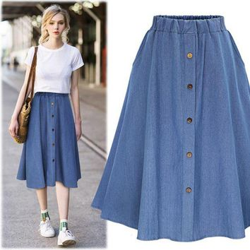 DCCKFV3 2017 summer women cute elastic waist denim jeans skirt ladies large plus size casual midi skirt female flare pleated buttons