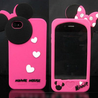 Cute Hot Pink Disney Minnie Mouse Bow Silicone Case Cover for iPhone 4/4S + Gift