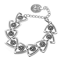 Bohemian Carved Flower Coin Triangle Bracelet