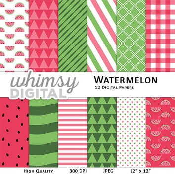 Watermelon Digital Paper with Watermelon Slices, Watermelon Seeds, Stripes, Triangles, Polka Dots, and Checkers in Pink, Green, and White