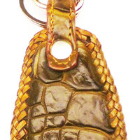 Crocodile leather key ring fob green
