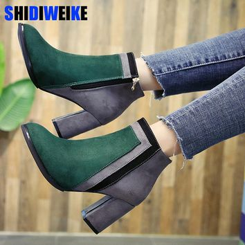 Botas mujer 2018 newest mixed color ankle boots women thick high heels Chelsea boots ladies patchwork winter martin boots N176