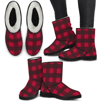 Ladies Faux Boots - Red Plaid