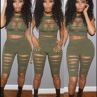 Army Green Cut-Out Plain Two-Piece Set