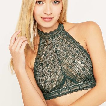 be768d7511 Free People Kiki Emerald Lace Halter Bra from Urban Outfitters