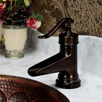 New Classic Europe Style Single Hole Oil Rubbed Bronze Waterfall Bathroom Basin Faucet Single Handle  Mixer Tap water taps