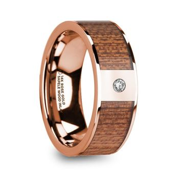 Sapele Wood Inlay Rose Gold Engagement Ring with Diamond, 14K